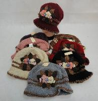 Ladies Knitted Hat [Flower Cluster]
